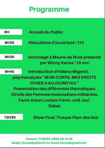 Programme journée internationale de la femme 2018